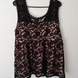 Torrid black lace tank size 2